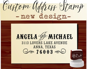 Calligraphy Handwriting Script Custom Return Address Stamp - Personalized SELF INKING Wedding Stationery Stamper - Style 6069