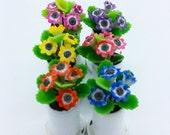 Gloxenia Miniature Polymer Clay Handmade Flowers for Dollhouse, set of 6 pieces