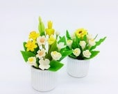 Daffodil, Iris and Sunflower Handmade Miniature Polymer Clay Flowers for Dollhouse and Gifts, set of 2 pieces