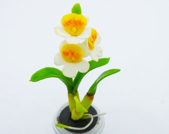 Orchids Miniature Polymer Clay Handmade Flowers for Dollhouse 1 piece