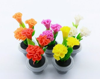 Carnation Miniature Polymer Clay Handmade Flowers for Dollhouse 5 pieces