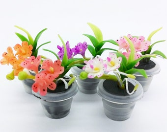 Orchids Miniature Polymer Clay Handmade Flowers for Dollhouse, set of 5 pieces