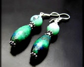 TAKEN ~ Chrysoprase, Chrysocolla Sterling Silver Drop Earrings