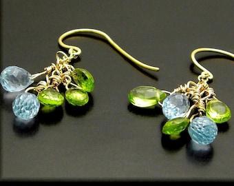 BLUES & GREENS ~ Blue Topaz, Green Peridot, 14kt Gold Fill Earrings