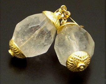 GOLD NEEDLE ~  Rock Quartz 14kt Gold Fill Earrings