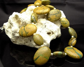 RIVERS & CANYONS ~ Natural Opal Canyon Jasper, Silver Necklace