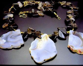 WINGS ~ Smokey Quartz, Brazilian Agate, 14kt GF Necklace
