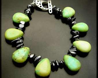 LOTUS ~ Green Turquoise, Hematite, Sterling Silver Bracelet