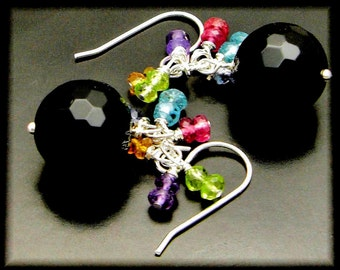 GARDEN AT MIDNIGHT ~ Black Spinel, Peridot, Apatite, Tourmaline, Sterling  Earrings