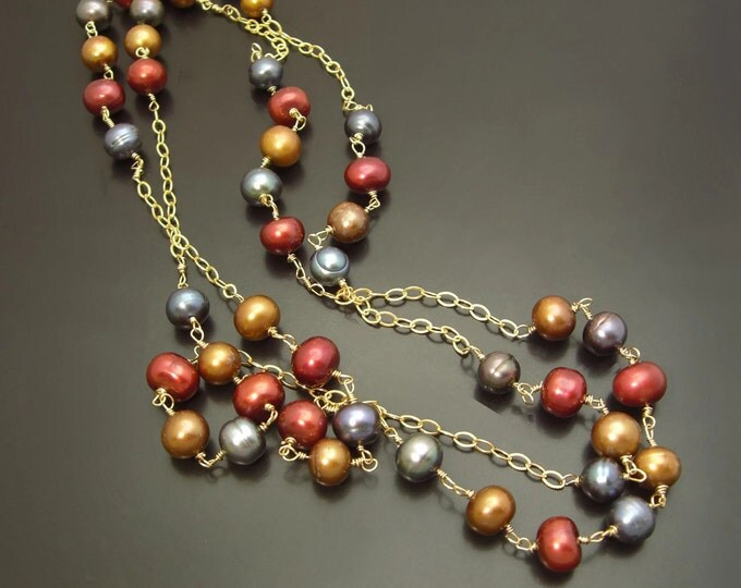CHAIN OF PEARLS ~ Long Freshwater Pearls, 14kt Gold Fill  Necklace