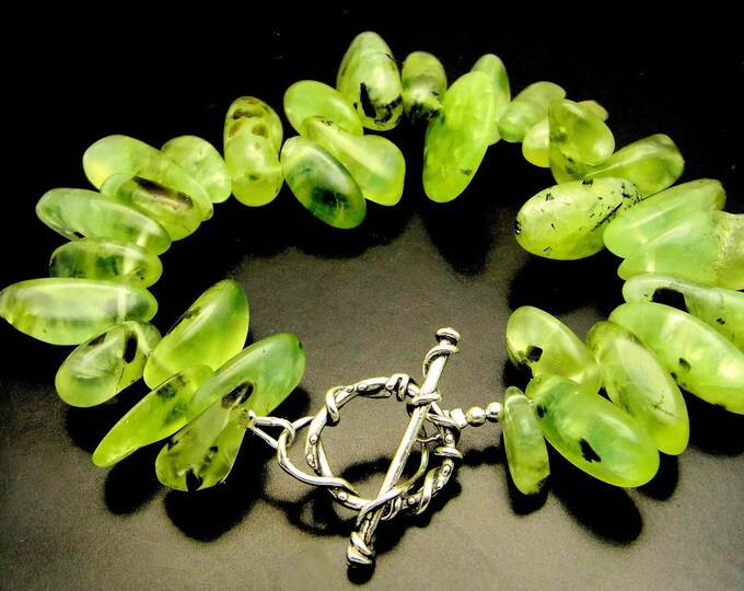 GREEN SLEEVES ~ Prehnite Nuggets, Sterling Silver Artisan Bracelet