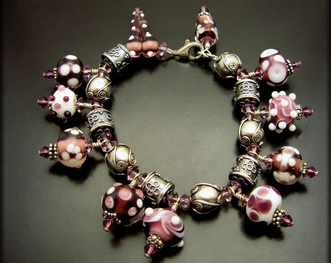 SUGAR PLUM ~ Purple Lampwork Glass, Swarovski Crystal, Sterling Silver Bracelet