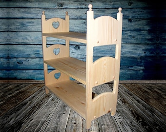 Triple Bunk Bed for 18-20 inch Dolls 3 Stackable Wooden Beds with Heart American Girl Doll, Journey Girls, Playroom Nursery Furniture Decor