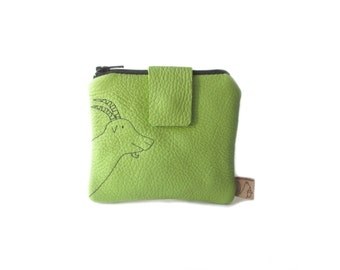 green leather wallet goat small embroidery