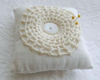 Linen Pin Cushion, Handmade Tufted Pincushion, Vintage Doily Pincushion