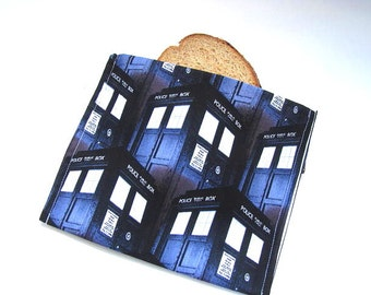 Reusable Sandwich Bag Eco Friendly Lunch Bag Dr. Who Tardis Themed Sandwich Bag Food Storage Back To School Ready to Ship