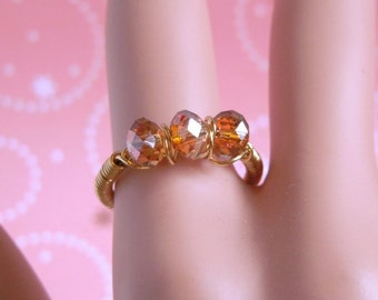 Swarovski Copper Crystal Ring, Gold Wire Ring Amber Brown Crystal Jewelry Size 8