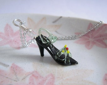 High Heel Shoe Necklace Lampwork Glass High Heels Pendant On Silver Chain Miniature Jewelry