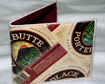 Bi-Fold Wallet from Recycled Deschutes Black Butte Porter Beer Labels