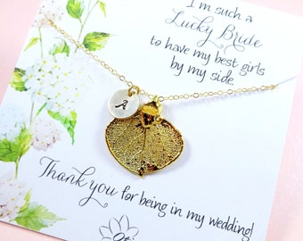 Leaf Necklace, Initial necklace, Autumn wedding, Personalized Bridesmaid gift, Gold Aspen leaf necklace, Bridal jewelry, Real leaf jewelry