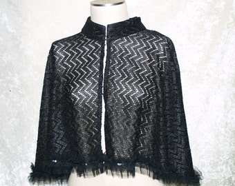 Short Black Lace Cape Handmade