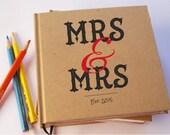 "Love Won! Mrs & Mrs Guestbook. Rainbow Wedding Guest Book. Lesbian Wedding Guest Book. Custom LGBT Wedding Guest Book. 6 x 6""."