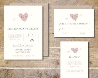 Recycled Wedding Invitations, Rustic Wedding, Heart and Arrow, Romantic Invitations, Invitation Suite, Illustrated Invitations, Blush Pink