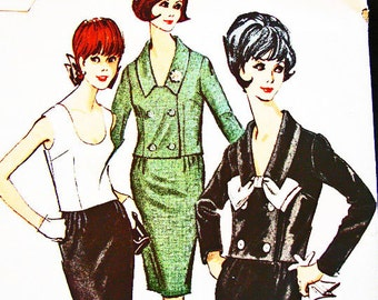 1960s Dress Pattern Junior Size 11 UNCUT Womens 2 piece Sleeveless Top Double Breasted Jacket, Wiggle Skirt, Vintage Sewing Patterns 60s