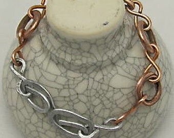 Copper and Steel  Infinity Link Bracelets, Recycled Copper Bracelets. Handmade Beaded Wristlet.