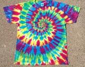 Tie Dye Shirt, Tiedye Shirt, Rainbow Shirt, Rainbow Tie Dye, Rainbow Spiral, Size Large, Size L
