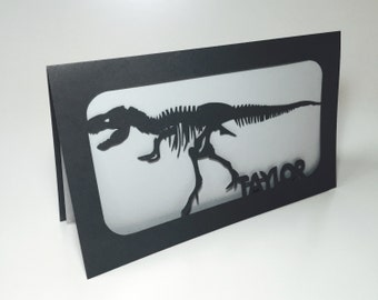 Custom Dinosaurs Skeleton Paper-cut Card