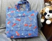 Cotton Shopping Tote Bag, Denim Pockets Print