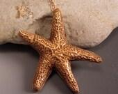Starfish Pendant Necklace Golden Bronze Detailed Unique Ocean Beach