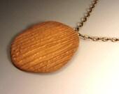 OOAK Unique Oval Bronze Gold Textured Pendant Necklace Unisex Men Women