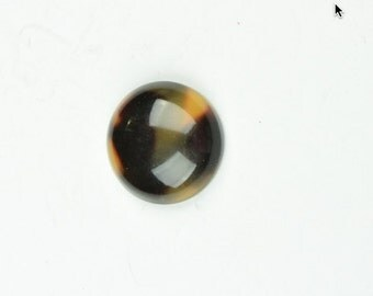 Tortoise round Cabochon 18mm  stone size, sold package of 4,  7612