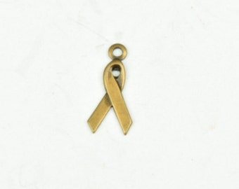 Ribbon Charm with ring, Brass antiqued sold 6 each per package 15167