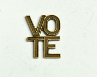Vote Charm, Brass antique finishes, sold in packs of 6 15164