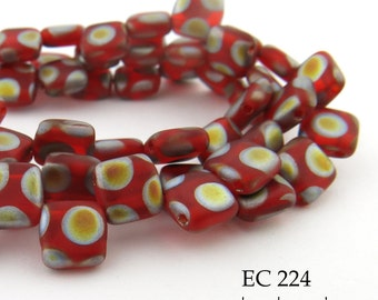 6mm 2 Hole Czech Glass Red Peacock Square Tile Bead (EC 224) 25 pcs BlueEchoBeads