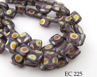 6mm 2 Hole Czech Glass Purple Peacock Square Tile Bead (EC 225) 25 pcs BlueEchoBeads