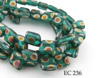 6mm 2 Hole Czech Glass Green Peacock Diamond Angled Tile Bead (EC 236) 25 pcs BlueEchoBeads