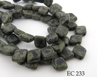 6mm 2 Hole Czech Glass Granite Grey Picasso Trapezoid Diamond Tile Bead (EC 233) 25 pcs BlueEchoBeads