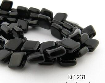 6mm 2 Hole Czech Glass Jet Black Glossy Angled Diamond Tile Bead (EC 231) 25 pcs BlueEchoBeads