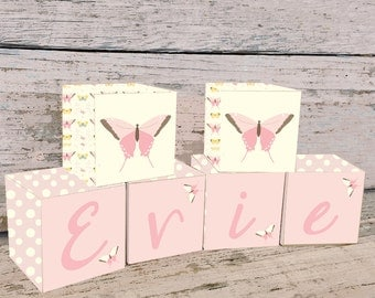 Pretty Pink Butterfly Name Blocks, Nursery Decor, Nursery Name Personalized Wooden Blocks