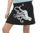 Octopus Skirt, Octopus Silver Metallic Print, Black Mini Skirt, Kraken, Steampunk, Gift for Her