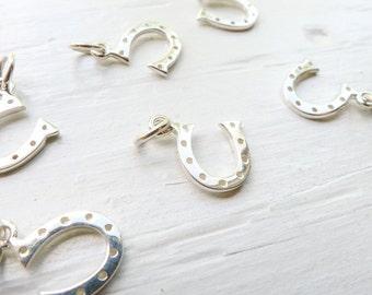 Horseshoe Charm Sterling Silver Horse Shoe Pendant (CHSN330)