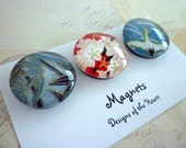 Round Glass Magnet set - Japanese paper collection - Red and Blue