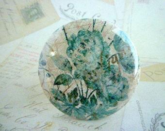 Pocket Mirror - Roses - Green