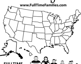 Fulltime Families State map with Stick figures