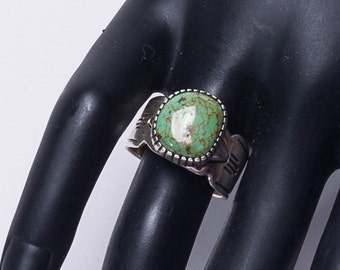Pilot Mountain Turquoise Ring - Navajo Modernist Sterling  - Gil Platero - 7 1/2