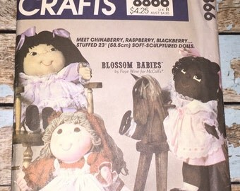 "Mccalls Crafts 8866 Blossom Babies Vintage 23"" Doll & Clothes Sewing Pattern UNCUT Faye Wine"
